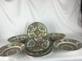 Eight Pieces Of 19thc Rose Medallion Plates