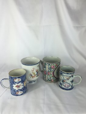 Four Chinese Export Porcelain Mugs