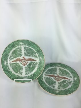 Pair Of Chinese Export Green Fitzhugh Plates With Us