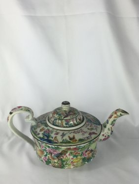 Large Chinese Famille Rose Teapot 19thc