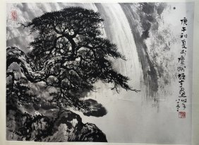 Chinese Painting Of Pine Tree And Waterfall