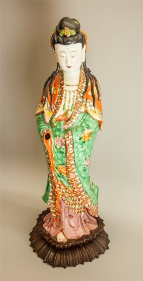 Large Chinese Famille Rose Enamel Standing Guanyin