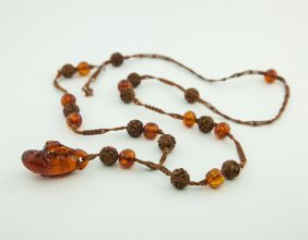 Chinese Amber Carved Bead Necklace 19th C