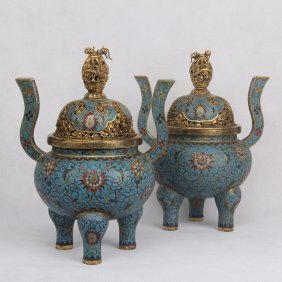 Pair Of Chinese Cloisonne Long Handle Censers