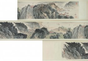 Chinese Handscroll Painting Of Mountain Views