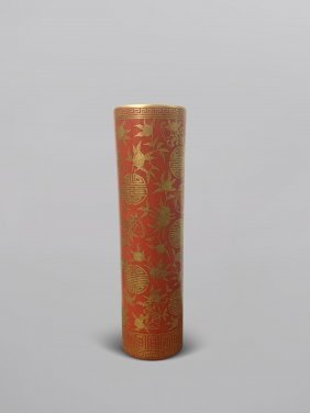 Chinese Porcelain Gold Painted Red Glaze Perfume Holder