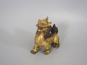 Chinese Gilded Bronze Beast