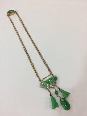 14k Gold Jade Drop Pendant Necklace