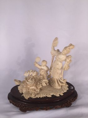 Chinese Bone Carved Lady