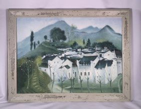Chinese Comtemporary Oil Painting On Convas By Wu