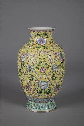 Chinese Porcelain Yellow Glaze Famille Rose Vase