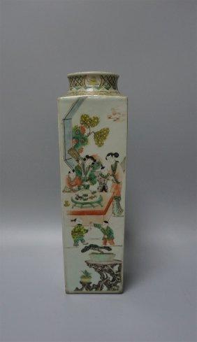 Chinese Porcelain Wucai Square Vase