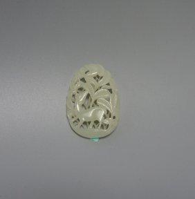 Chinese White Jade Deer Plaque