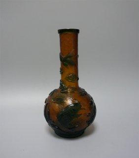 Chinese Peking Glass Bird And Lotus Vase