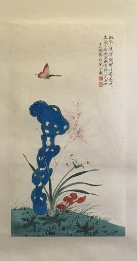Chinese Scroll Painting Of Butterfly And Flower