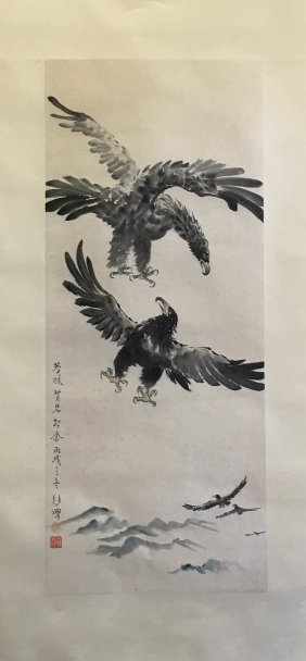 Chinese Scroll Painting Of Two Eagles