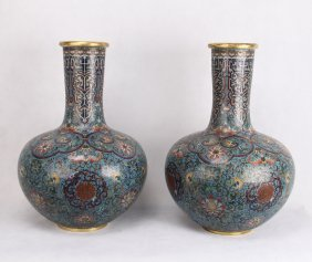 Pair Of Large Chinese Cloisonee Tianqiu Vases