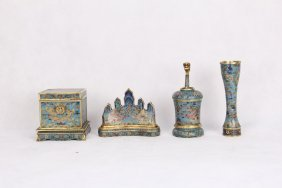 Set Of Four Chinese Cloisonne Scholar's Writing Objects
