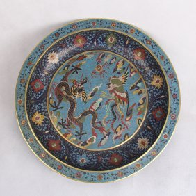 Large Chinese Cloisonne Charger