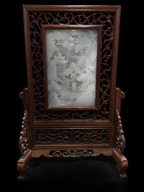 Chinese White Jade Plaque Table Screen
