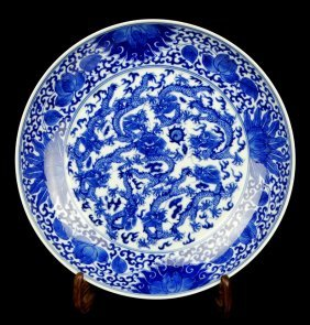 Chinese Porcelain Blue And White Dragon Charger