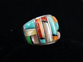 Silver Ring With Multi-colored Stones