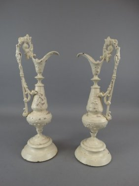 Pair Of Continental Painted Cast Ewers