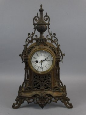 French Spelter Mantle Clock W/ Porcelain Dial