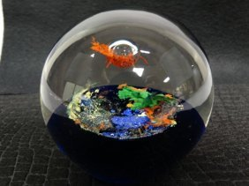 Brilliantly Colored Glass Paperweight
