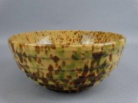 Antique Splatterware Yellowware Mixing Bowl