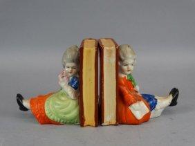 Pair Of Vintage Porcelain Decorative Bookends