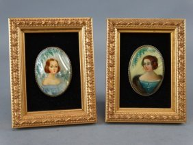Lot Of 2 Russian Miniatures On Mother Of Pearl.