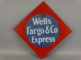 Vintage Wells Fargo & Co. Express Porcelain Sign