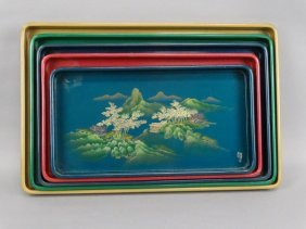 Japanese Painted Laquer Tray Set