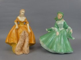 Lot Of 2 Painted Plaster Lady Figurines