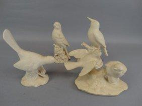 Lot Of 4 Plaster Bird Figures