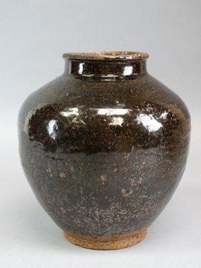 Asian Black Glazed Stoneware Jar