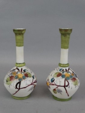 Pair Of Painted Glass Bottle Vases