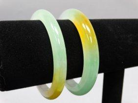 Pair Of Tri-colored Jade Bangles
