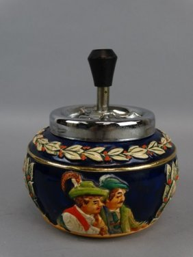 German Painted Porcelain Mechanical Ashtray