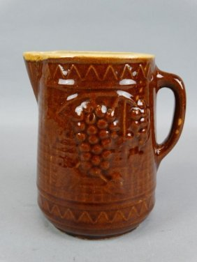 Large Vintage Glazed Pottery Pitcher