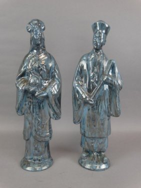 Pair Of Painted Plaster Chinese Figures