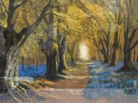 Pastel Painting - Unknown Artist : Forest Scene