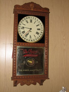 2005 Dr Pepper Clock Pendulum Clock Oak And Molding