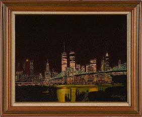 New York Skyline By Elizabeth Santiago, Oil On Board