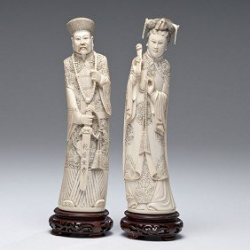 Carved And Inked Chinese Ivory Figures�