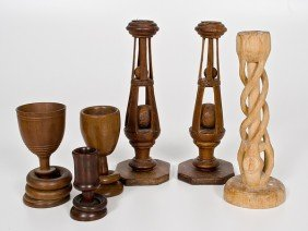 Group Of Folk Art Carved Candle Sticks, Plus�