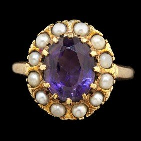 Amethyst & Seed Pearl Ring�