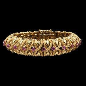 Pink Tourmaline & Gold Bracelet�