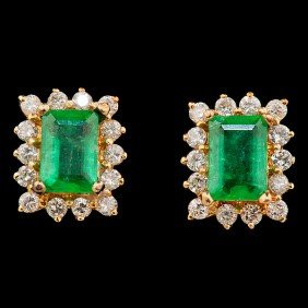 Emerald And Diamond Earrings�